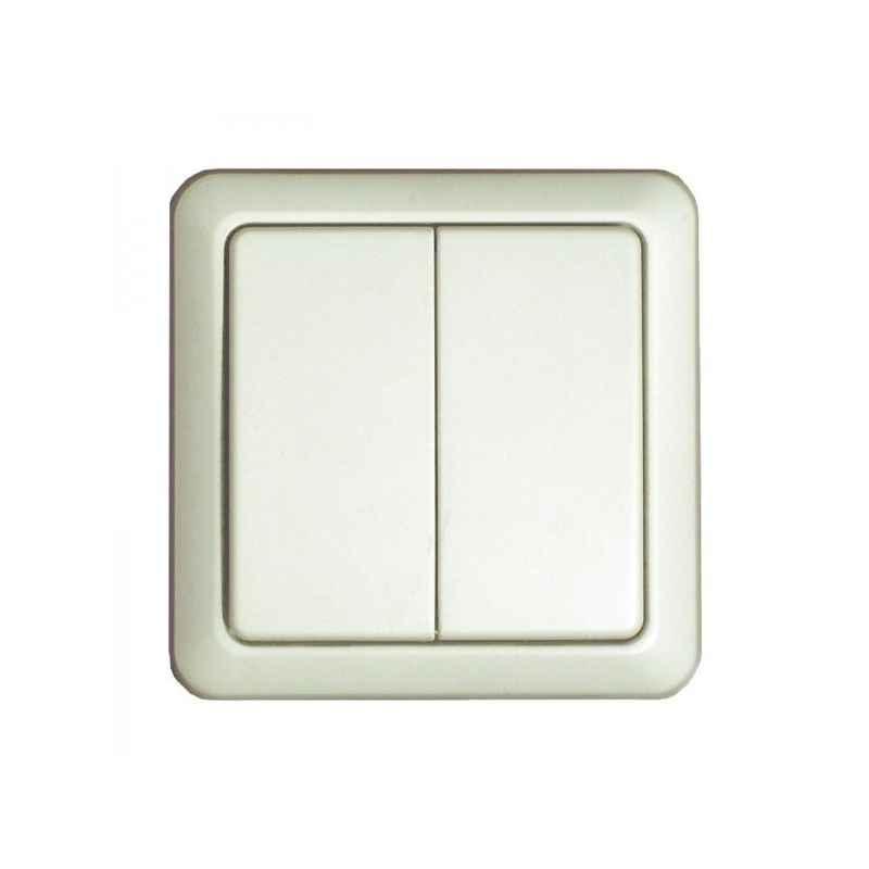 interrupteur mural sans fil double blanc. Black Bedroom Furniture Sets. Home Design Ideas