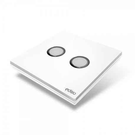 EDISIO - Interrupteur Elegance Blanc 2 Touches Base Blanche